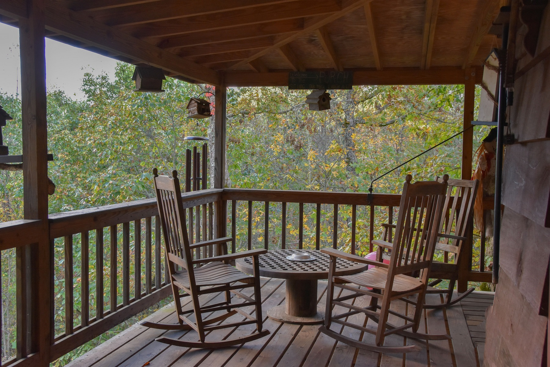 Covered deck porch mountain view home